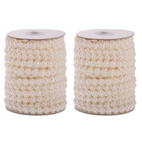 Wholesale beads for decoration string for sale - Group buy 2pcs Resin Pearl Beads Chain Meters Flower Roll Garland String for Christmas Wedding Party Home Decoration Craft Beige