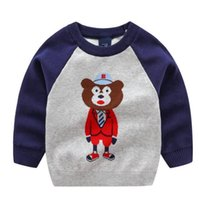 jungen pullover verkauf großhandel-2019 neue koreanische Version der Jungen Karikatur Herr Xiong Jacquard Pullover für Kinder Doppelschicht dicker Pullover Fabrik Direktvertrieb