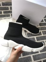 Wholesale chocolate sock for sale - Group buy Designer Speed Trainer Luxury Knited Shoes Womens Mens Casual Shoes Black White Red Flat Fashion Speed Knit Socks Sneakers Fashion Trainers
