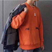 толстовки с капюшоном оранжевого цвета оптовых-Пара влюбленных засаде фуфайки Осень Зима Классический Solid Color 3D печати Оранжевый Черный Белый AB Ambush Hoodie высокого качества