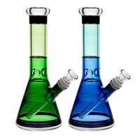 plataformas petroleras de base gruesa al por mayor-10 '' vaso de vidrio Bong Bong agua de colores con el colector de hielo grueso del cubilete aceite base Tubos aparejo de agua para fumar con Downstem and Bowl