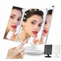 katlanabilir aynalar toptan satış-22 LED Işıklı Dokunmatik Ekran Makyaj Ayna Tablo Masaüstü Makyaj 3 Katlanabilir Ayarlanabilir LED Ayna DHL ücretsiz gönderim Aynalar