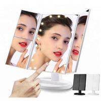 ingrosso tavolo libero-22 LED illuminato touch screen del trucco dello specchio di trucco Tabella Desktop Specchi 3 registrabile pieghevole di trasporto libero dello specchio del LED DHL