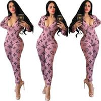 kadın uzun kollu artı boyutu rompers toptan satış-Marka Tasarımcısı Kadın Tulumlar Tulum Uzun Kollu Tek Parça Pantolon Artı Boyutu Güz Kış Rahat Giyim S-2XL Gece Kulübü Clubwear DHL 1311