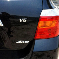 Wholesale 3d sticker chrome auto resale online - Metal Chrome D Displacement Emblem Badge Auto Motor Sticker Decal for V6 Engine Car Stickers AAA319