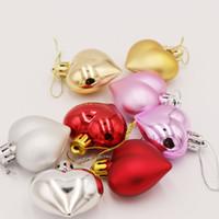 ingrosso palle rosa per la decorazione-Natal 6PCS / Pack Heart Christmas Pendant Balls Decorazione per albero di Natale XMAS Ornamenti per feste 2020 Decorazioni natalizie per la casa