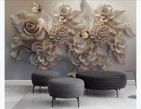 flores borboleta parede murais venda por atacado-Personalizado 3d silk photo murals wallpaper Bonito tridimensional alívio 3D flor borboleta sala de estar TV fundo da parede