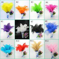 yüksek kaliteli saç boyası toptan satış-30-35 cm Yüksek Kaliteli Boyalı Büyük Devekuşu Tüyü Devekuşu Saç Ağartılmış Devekuşu Saç Düzenli Renk Stok EEA515
