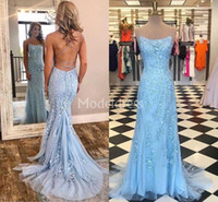 Wholesale occasion dress for sale - Elegant Lace Mermaid Evening Dresses Spaghetti Strap Sweep Train Tulle Appliques Formal Party Evening Gowns Stylish Special Occasion Dresses