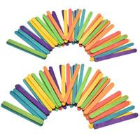 renkli çubuklar toptan satış-50 adet Diy Dondurma Araçları Lolly Sticks Doğal Ahşap Renkli Popsicle Çocuk El Sanatları Dondurma Sticks Sticks Kek Araçları