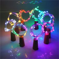 ingrosso illuminazione delle bottiglie di vetro-2M 20 LED Stopper Luce Vetro Vino LED Rame Sughero Bottiglia di filo a forma di filo String Lights per luci di Natale Festa di nozze 120 pz AAA1906