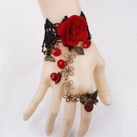 anillo de pulsera de encaje flor rosa al por mayor-Joyería de moda rosa roja flor de caña temperamento de cristal lolita pulsera de encaje con anillo uno opisthenar joyas amor joyería