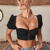 ingrosso camicia femminile strappata-Piazza Collo Bassiera womens t shirt manica corta in taglio basso ombelico Baring Outfits vestiti delle donne della camicia volontà e la nave SANDY goccia