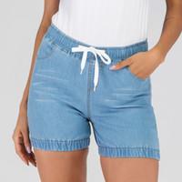 pantalones de mujer de estilo coreano al por mayor-Cintura alta vintage Crimping Denim Shorts mujeres 2019 estilo coreano Shorts casuales Jeans Summer Hot pantalones cortos mujeres
