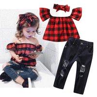 rote baby-jeans großhandel-kinder outfits kleidung mädchen 2019 eine schulter rot kariertes hemd + loch jeans anzug zweiteilige Sommer set baby trainingsanzug trainingsanzüge kleidung sets
