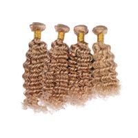 ingrosso tessuto dei capelli indiani più lunghi-Estensioni di trama dei capelli umani di colore biondo del miele 4Bundles per la donna Colorata pura 27 peli brasiliani dell'onda profonda dei capelli 4Pcs