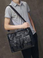 "leather laptop bag men black Briefcase 15.6"" Fashion Business Bags vintage Casual mens computer bag office bags for men"