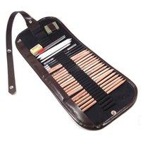 lápis de desenho 4b venda por atacado-18X Esboço Lápis B / HB / 2B / 3B / 4B Extensor Eraser Paper Pen Cortador Set Desenho Saco 8 pcs