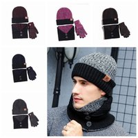 Wholesale warmest hunting gloves for sale - Group buy 6 Colors Winter Outdoor Warm Beanies Hat Skiing Sport Windproof Cap Knited Hat Scarf Touch Screen Gloves Three piece Suit Gift ZZA916