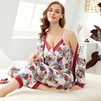 Wholesale cotton knit pajamas for sale - Group buy 3 Set Women s Pajamas Knitted Cotton Printing Spaghetti Strap Full Length Robe Spring Summer Autumn Home Clothes Sleepwear