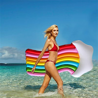 Wholesale pvc beds online - Rainbow Clouds Inflatable Floats PVC Eco Friendly Solid Floating Bed Single Person High Hardness Fashion Security Anti Wear Hot Sale dyI1