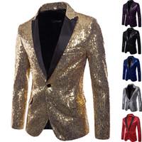 erkekler düğün takımları markaları toptan satış-Erkek Sequins Patchwork Elbise Blazer Ceket   2018 Marka Yeni Erkek Slim Fit DJ Kulübü Sahne Bir Düğme Blazer Adam Örgün Düğün Suit
