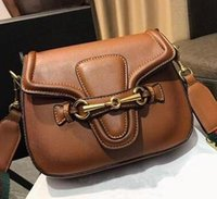 ingrosso cinturino in pelle marrone-Fashion Designer Luxury Women Vintage Saddle Bag Single Shoulder Strap Bag Brown Crossbody Borse Designer retrò in pelle borse a tracolla in pelle