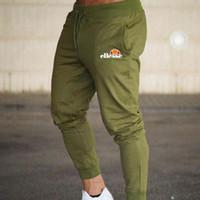 joggers sweat pants mens toptan satış-Erkek Joggers Rahat Pantolon Spor Spor Dipleri Sıska Sweatpants Pantolon Siyah Spor Jogging Yapan Vücut Geliştirme Parça Pantolon
