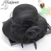 Wholesale dress hat for sale - Kajeer Summer Hats for Women Solid Satin Feather Floral Wide Brim Sun Hats Ladies Floppy for Flower Party Dress