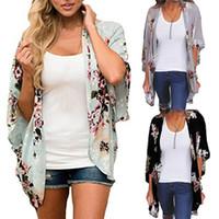 xxl frauen wolljacke großhandel-Frauen Tops Chiffon Flügelhülsen Bluse Damen Kimono Chemise Femme S-XXL Frauen Blusen Floral Strickjacke