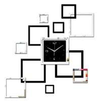 espelhos de parede venda por atacado-2019 sala de estar novo relógio de parede 3d diy relógios de decoração para casa relógio horloge murale quartzo acrílico espelho adesivos