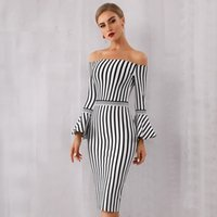 ingrosso vestito da sera nero del manicotto flare-2019 New Summer Women Bandage Dress Sexy Flare Sleeve WhiteBlack Club Dress Vestido Elegante Celebrity Evening Party Dress