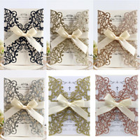 Wholesale valentines card resale online - DIY Wedding Invitations Laser Hollow Valentines Day Cards Happy New Year Engagement Cards Glitter Greeting Card
