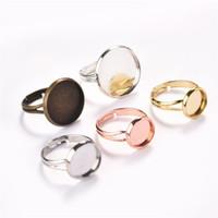 anillo de joyas en blanco bandejas al por mayor-10 unids / lote Ajustable Anillo Cabochon Configuración de Base en Blanco Tiempo Gem Tray Fit 10 12 14 16 18 20mm Para DIY Anillo de la joyería que hace
