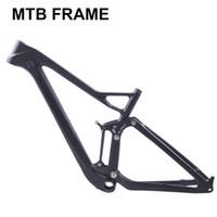 marco mtb completo al por mayor-Suspensión TwinCl completa XC carbono cuadro de bicicleta de montaña disco 29er mtb carbono 29er / 27.5er más cuadro de suspensión.
