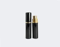 Wholesale perfume glass bottle gold cap resale online - 5ML ML Black with Gold spray Woman Perfume Bottle Atomizer Metal Aluminum Glass Empty Container Refillable Bottles Sprays
