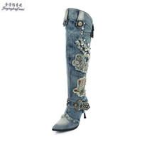 kanye west talons achat en gros de-Hiver Pop Bleu Denim Kanye West Bottes Cowboy Femmes Chaussures à Talons Hauts Bottes Sexy À Fermeture Éclair Au Genou
