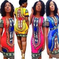 cópias folk art venda por atacado-Novo Atacado New Verão Vestido Sexy Mini Africano Tranditional Imprimir dashiki Vestidos Ladies Folk Art Africano Vestido Mulheres Roupa