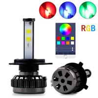 kit de control remoto diy al por mayor-Multicolors coche DIY RGB LED Auto Faro Kits H1 H7 H4 H8 HB3 HB4 881 H16 APP Bluetooth Remote Control luz de niebla