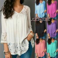 Wholesale seven t shirt online – design Fashion ladies tops autumn long sleeve lace v neck Seven quarter sleeve hot sale big size candy color t shirt