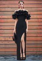 Wholesale custom side cap resale online - Sexy Evening Dress Off Shoulder Maxi Dress Black Satin with Side Split Zipper Back Floor Length Custom Celebrity Dresses Party Gowns