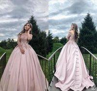 ingrosso l'abito di sfera fissa fuori dalla spalla rosa-Principessa Rosa Ball Gown Quinceanera Abiti manica lunga Off spalla Sweep treno Appliques Bow Prom Party Gowns per dolce