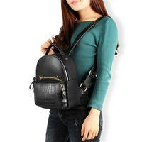 Wholesale ladies summer backpack resale online - Overseas2019 Ladies Summer Both Shoulders School Wind Backpack Genuine Leather Crocodile Grain Cowhide Woman Package Tide