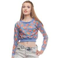 bayan karpuz toptan satış-Kadın Kırpma Kazak Karpuz Mor 3D Baskı Kız Ücretsiz Boyutu Sıkı Rahat Kısa Hoodies Lady Uzun Kollu Tişörtü Tops (R36115)