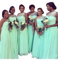 schwarzes minze grünes kleid groihandel-Mint Green One Schulter Brautjungfernkleider 2019 Lange Günstige Country Style Für Schwarze Mädchen Rüschen Chiffon Hochzeit Party Abendkleid