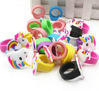 Wholesale baby finger rings resale online - Cute Cartoon Unicorn Ring Unicorn Birthday Party Favors Supplies Kids Baby Finger Ring Toys Kids Christmas Birthday Gift