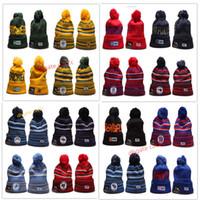 basketbol takımları beanies toptan satış-2019 Yeni Kış kasketleri Örme Spor Takımları Beyzbol Futbol Basketbol Beanie Kadınlar Pom Moda adam Üst sıcak açık şapkalar Caps