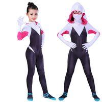 nueva máscara femenina al por mayor-Nueva Spider Gwen Máscara Cosplay Stacy Spandex Lycra Zentai Spiderman Disfraz Para Halloween Mujer Mujer Spider Suit Anti-Venom