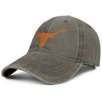 ingrosso tappi a sfera professionali-Texas Longhorns Logo marrone mens e womens cappello denim lavaggio regolabile berretto a sfera design tuo cappelli papà pianura professionale