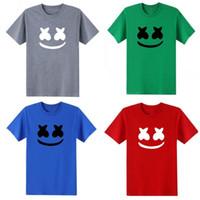 lazer dj venda por atacado-Verão Dos Homens T Camisa de Impressão Padrão de Manga Curta Emoji Sorridente Lazer DJ Marshmello Vendas Direto Da Fábrica Verde Branco 19rw C1